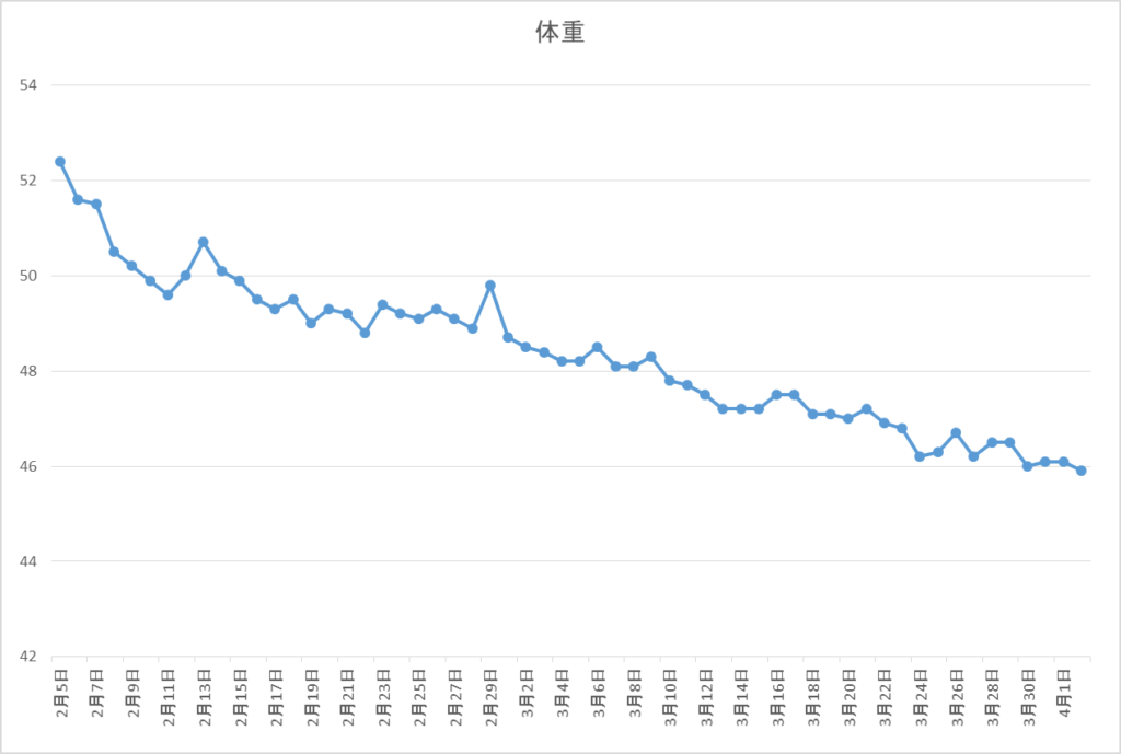 モニターのダイエットグラフ